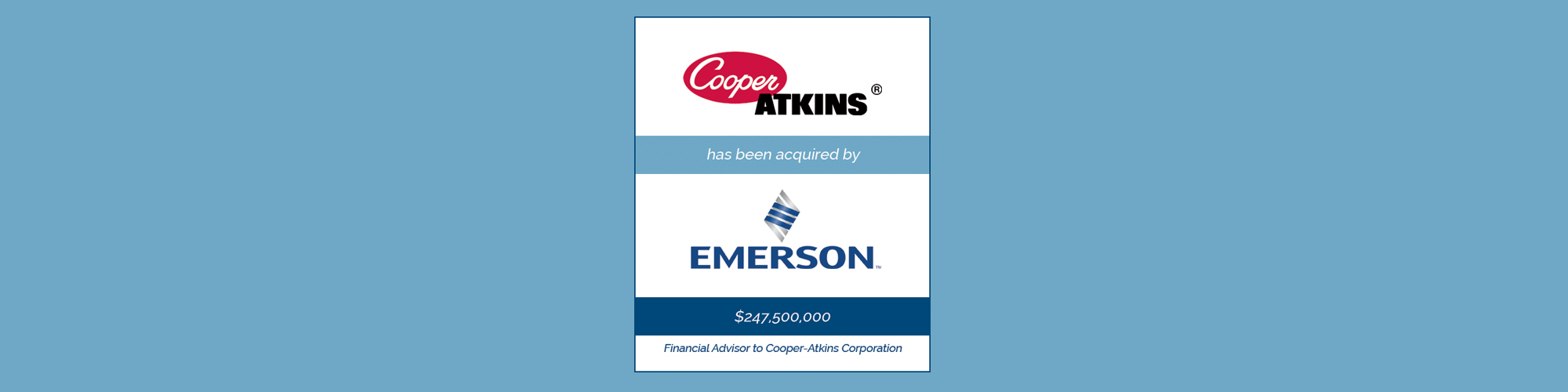 Cooper Atkins has been acquired by Emerson | Bailey Southwell & Co.