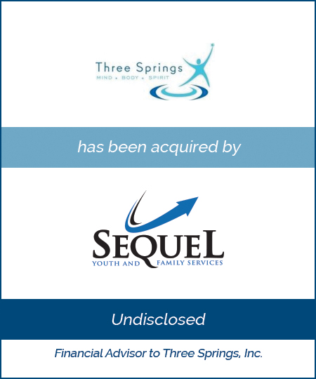 Three Springs has been acquired by Sequel Youth and Family Services
