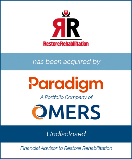 Restore Rehabilitation has been acquired by Paradigm